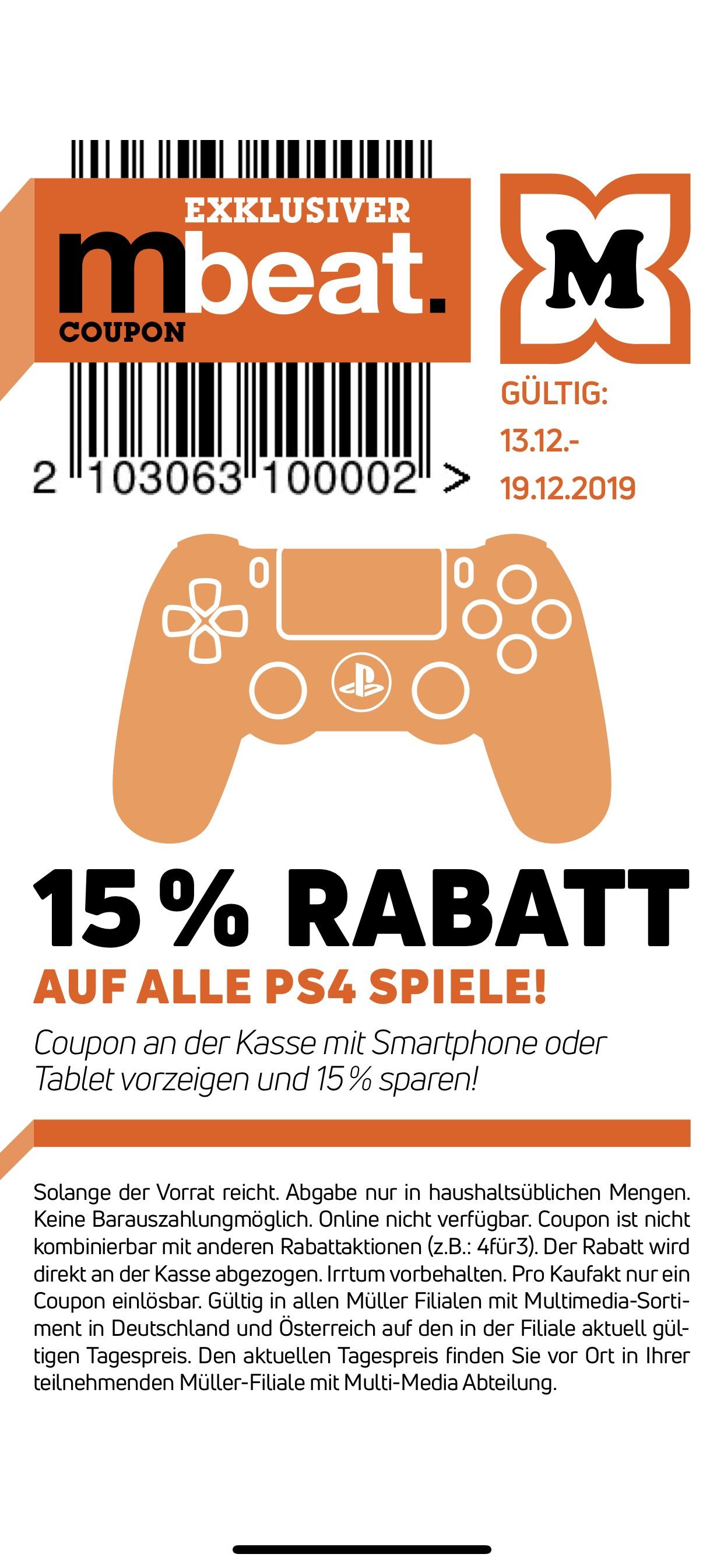 Müller App (MBeat): 15% auf alle PS4 Spiele