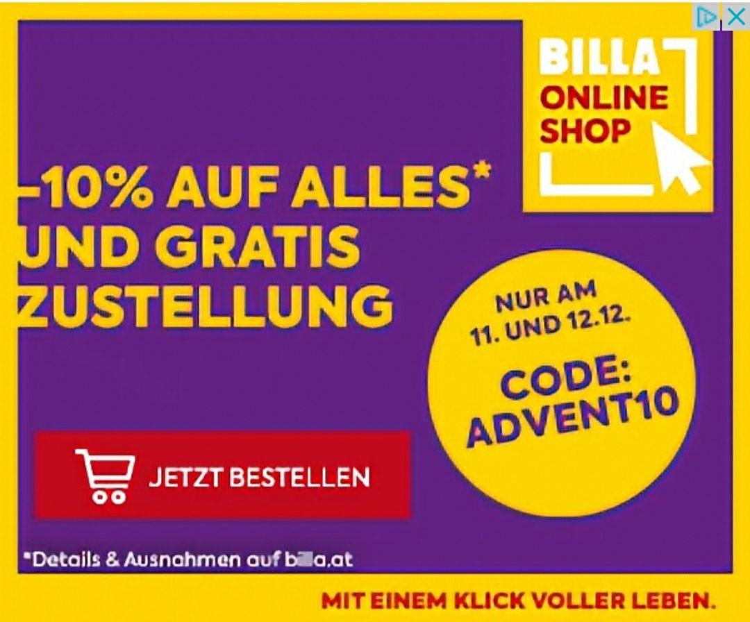 BILLA -10% und gratis Zustellung