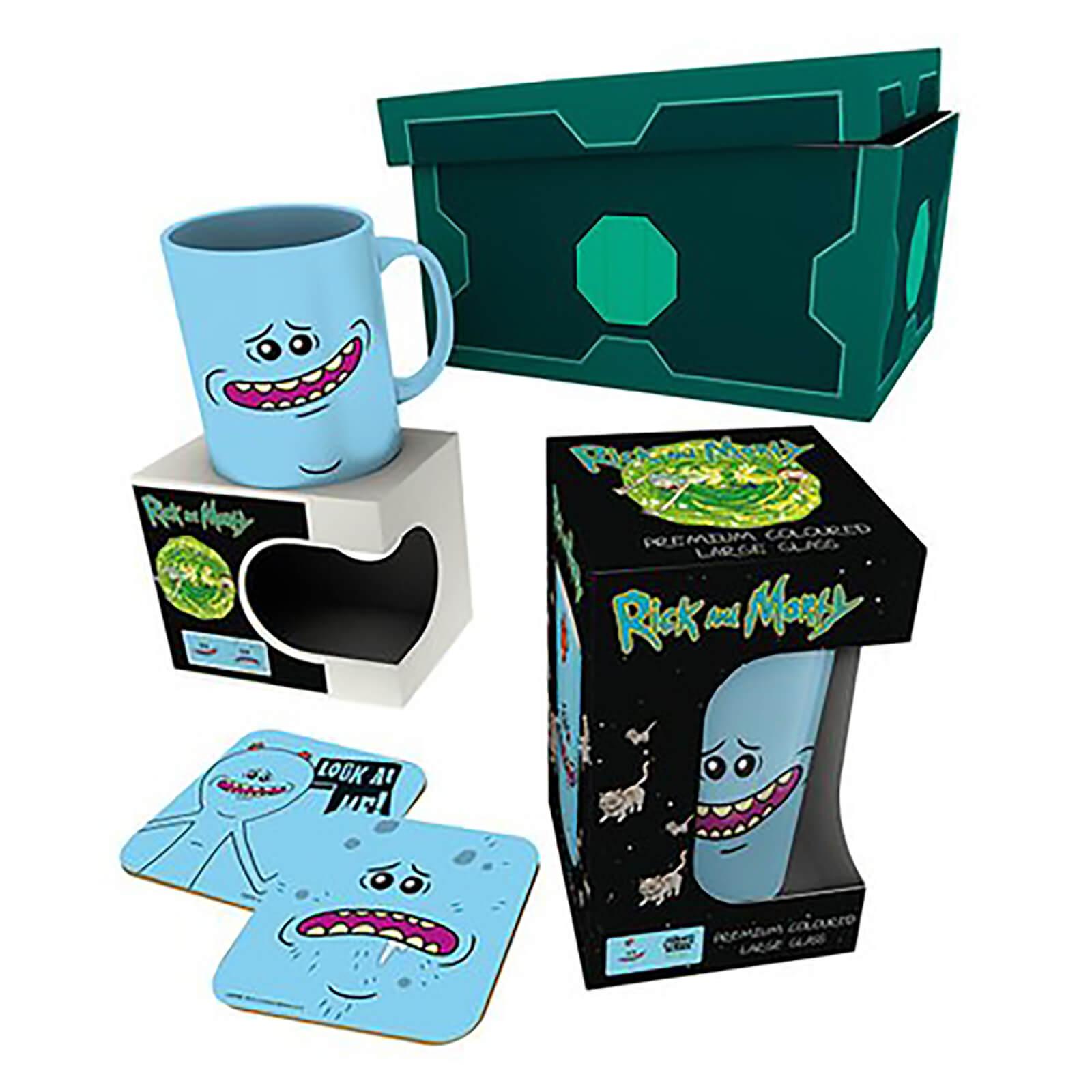 Rick and Morty Geschenkbox mit Tasse, Glas und Untersetzern von Mr. Meeseeks
