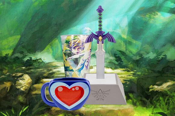 Zelda Box mit Master Sword Lampe, Herztasse und Glas