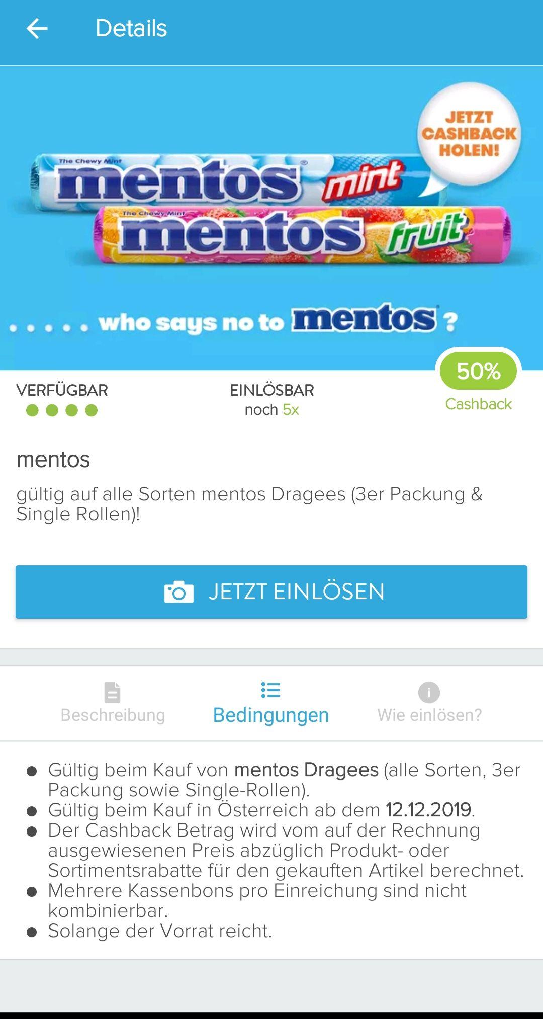 50% Cashback für Mentos von Marktguru