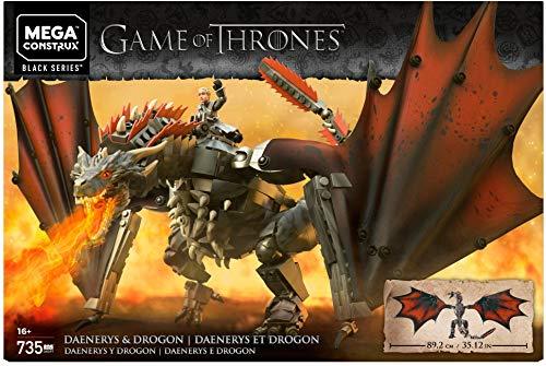 Game of Thrones Daenerys und Drogon, Bauset mit 735 Bausteinen und Actionfigur (Mega Construx GKG97)