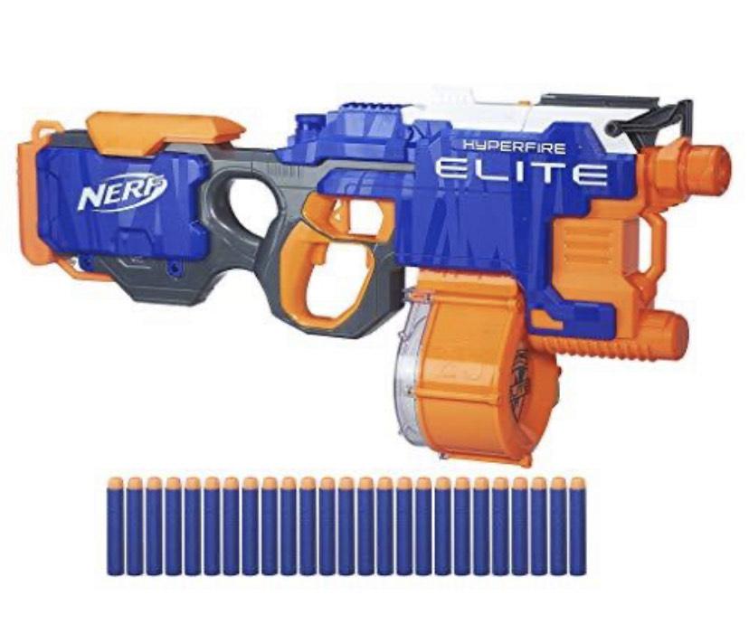 """Hasbro Nerf N-Strike Elite Hyper-Fire halbautomatischer Spielzeugblaster """"B5573EU4"""" (Mit Trommelmagazin) [Amazon-Prime]"""