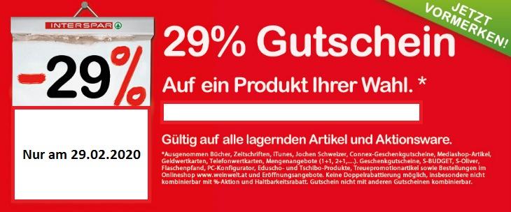 [ Preisjäger Leak ] INTERSPAR | -29% Rabatt auf ein Produkt Ihrer Wahl incl. TV, Konsolen, Elektro(groß)geräte am 29.02.20