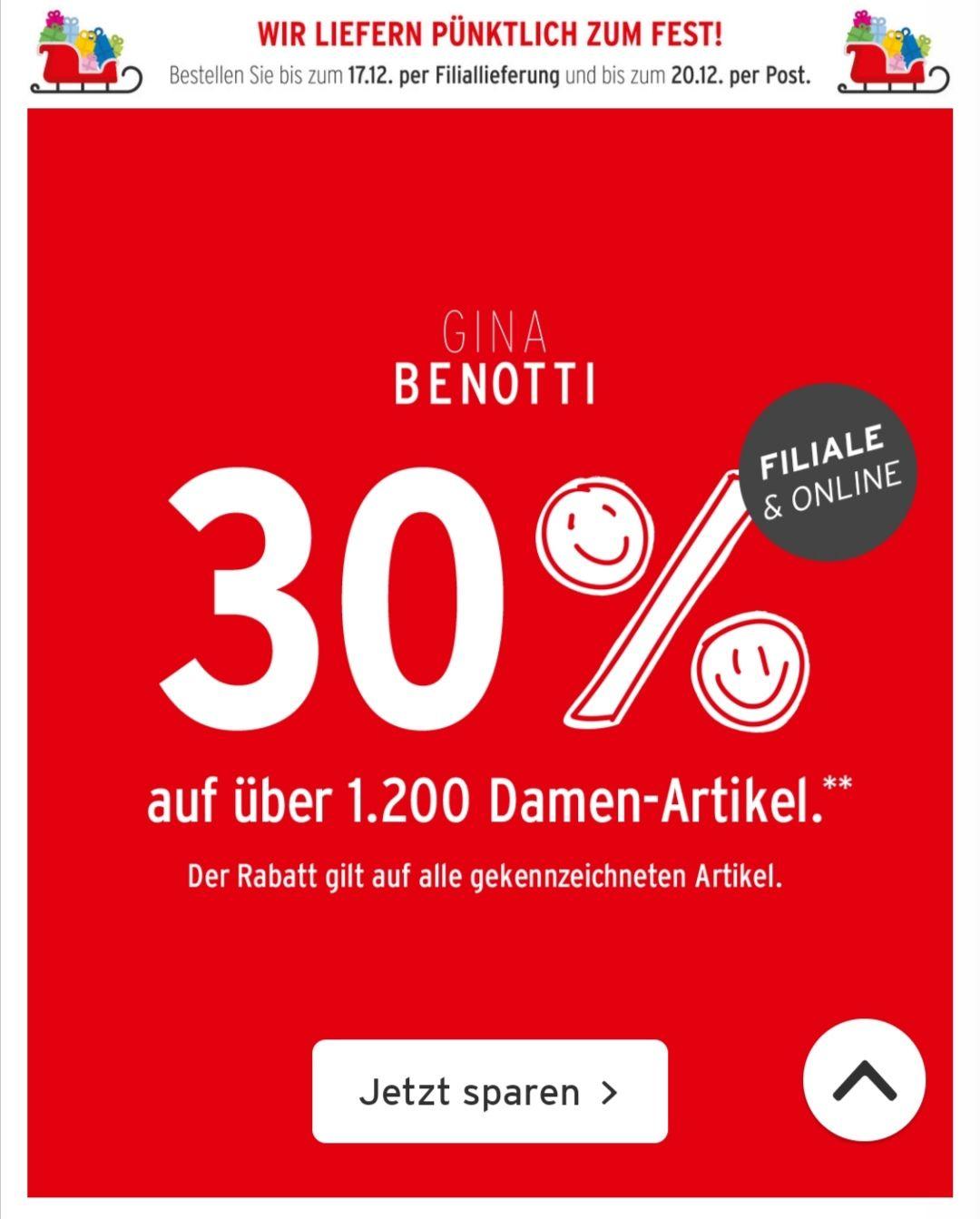 Ernsting's Family - 30% auf Damenbekleidung Marke Gina Benotti