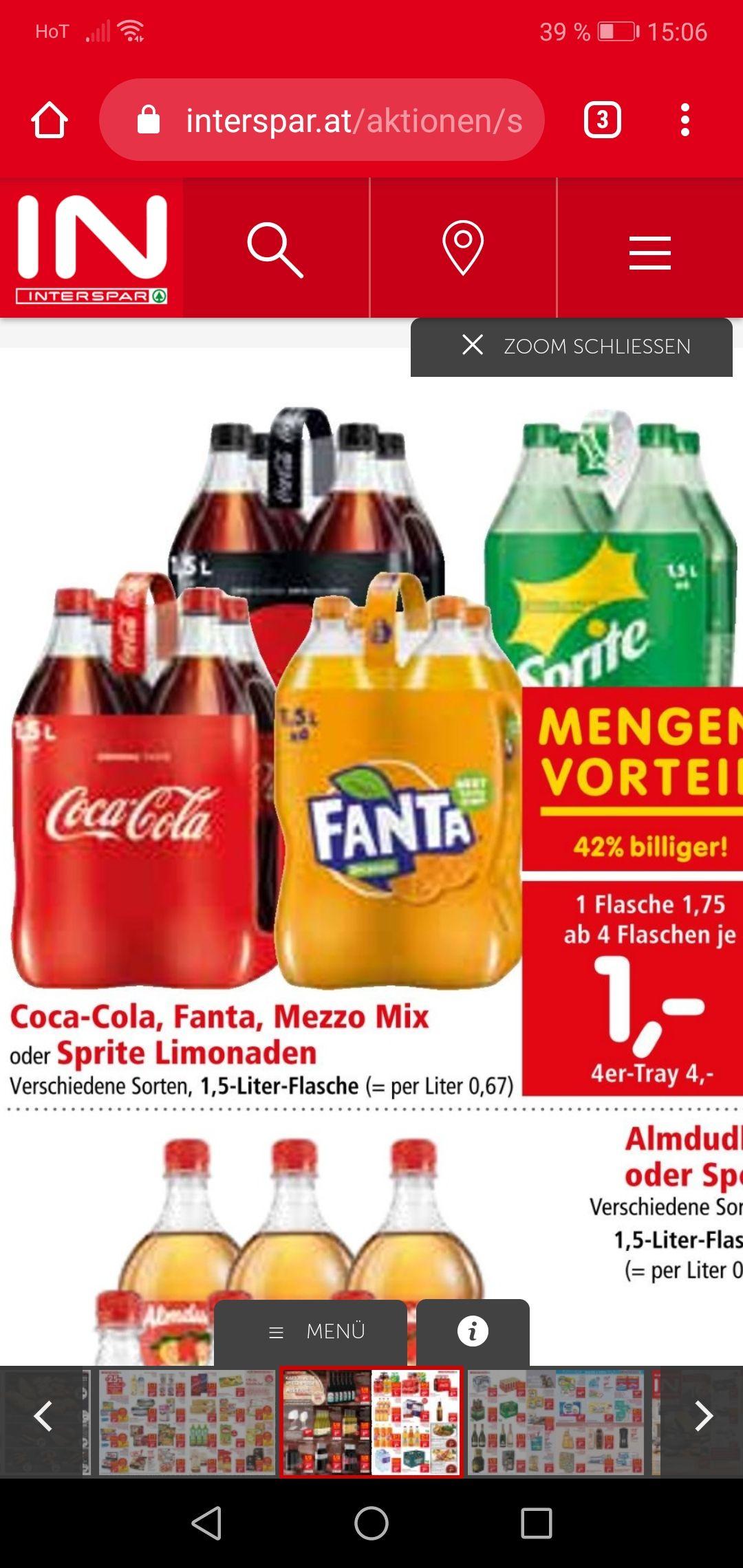 Spar interspar Cola Fanta sprite ab 4 Stück