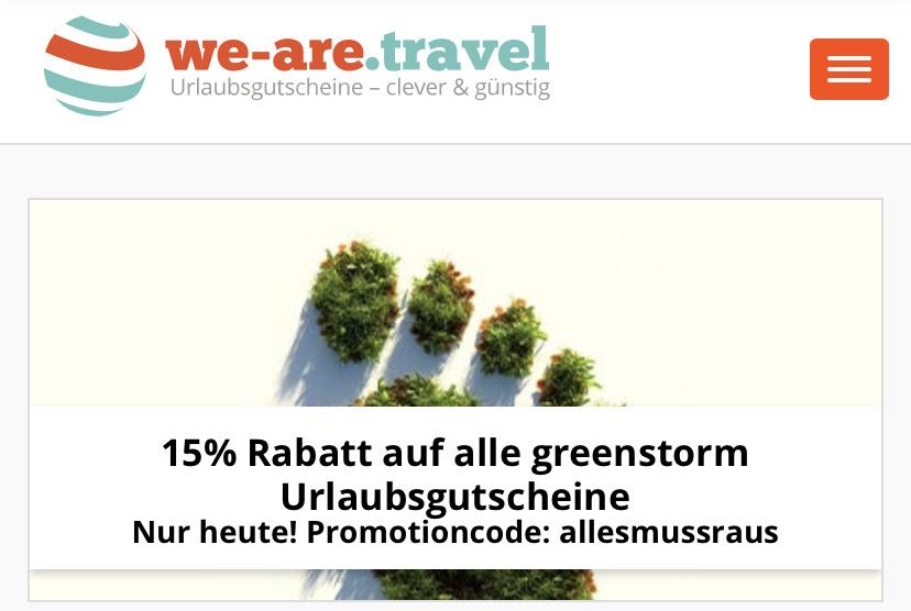 -15% auf we.are.travel Gutscheine von Greenstorm