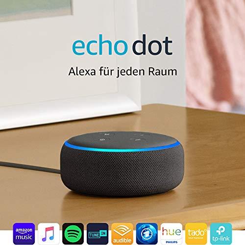 Echo Dot 3 Generation, Anthrazit Stoff (bei 2 Stück 25,24€ pro Echo)