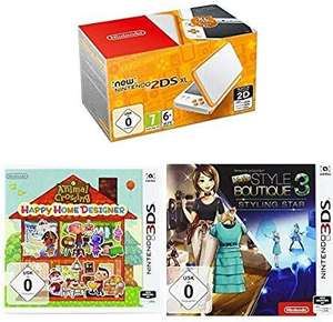 Nintendo 2DS XL Konsole (Weiß / Orange) inkl. Animal Crossing Happy Home Designer und New Style Boutique 3 – Styling Star