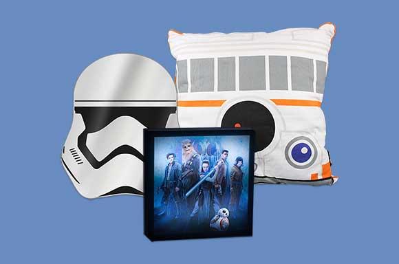 Star Wars Paket mit BB8-Kissen, Stormtrooper Spiegel und 3D Luminart