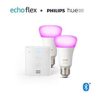 Echo Flex + Philips Hue Color LED-Lampe Doppelpack (E27)