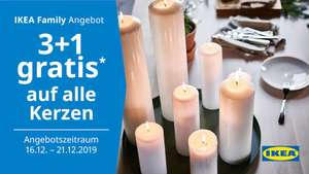Ikea Haid: 3+1 gratis auf alle Kerzen (Family & Business)