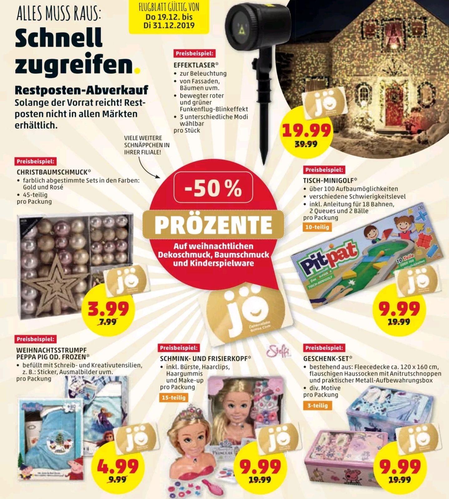 Penny -50% auf weihnachtlichen Dekoschmuck, Baumschmuck und KINDERSPIELWARE