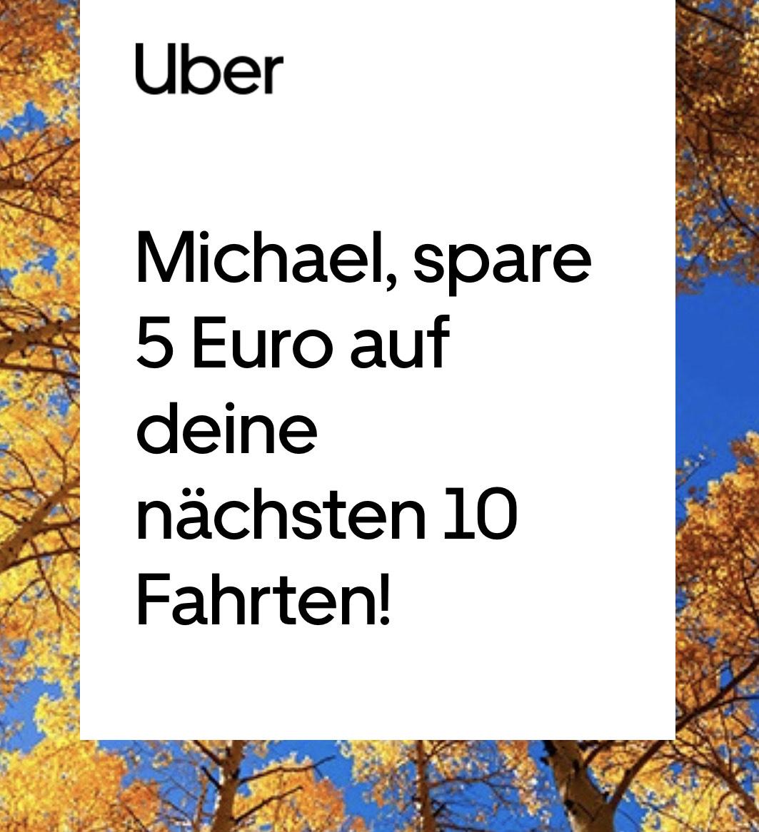 Uber: 10x 5€ Rabatt auf eure Fahrt.