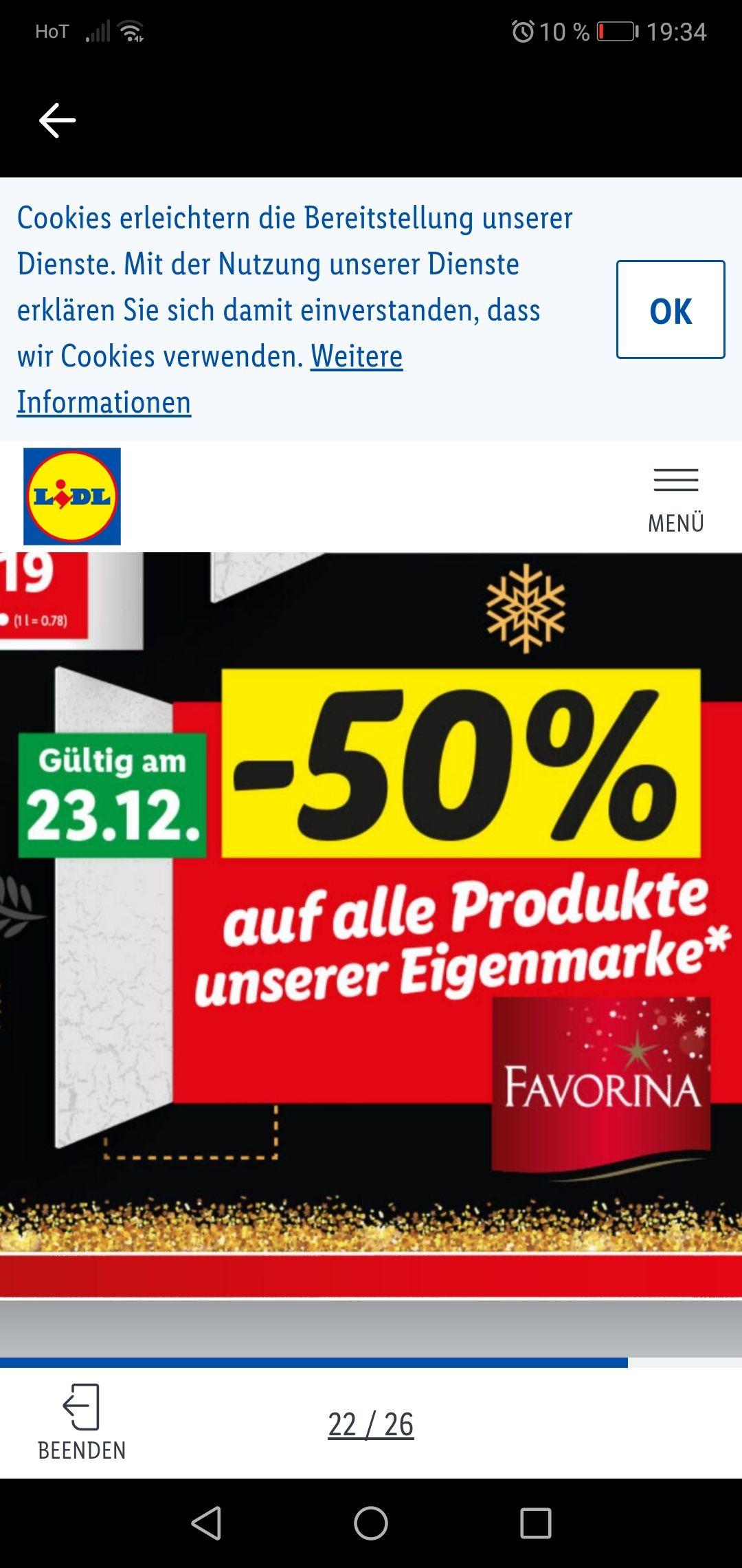 Lidl minus 50 Prozent auf alle Produkte der eigenmarke favorina