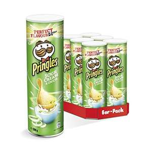 Pringles Sour Cream & Onion Chips, 6 x 200g