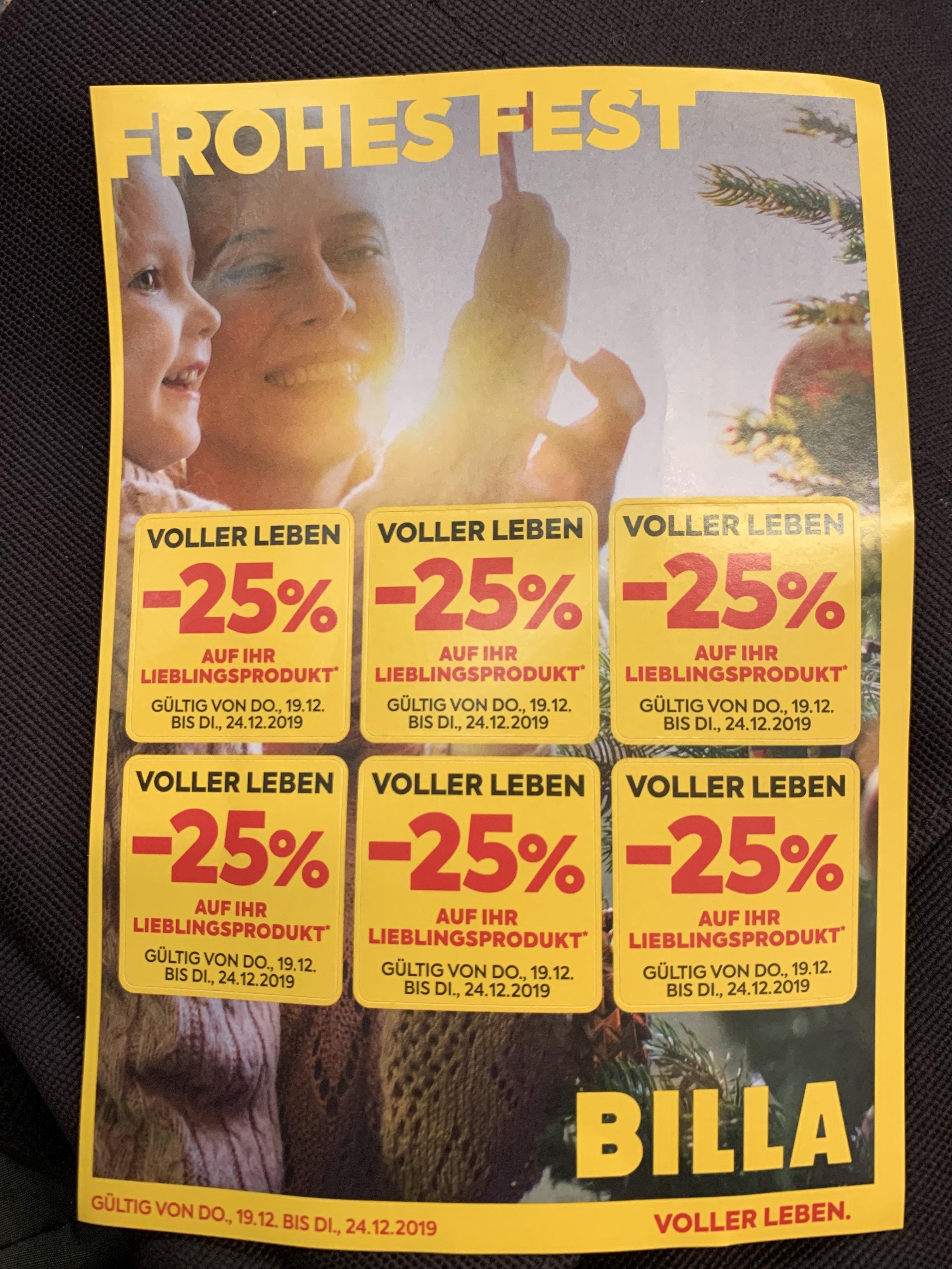 Wieder einmal -25% Billa-Pickerl (19.12-24.12)