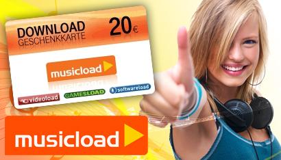 Legal Musik downloaden mit bis zu 55% Rabatt mit 20€ musicload-Gutschein ab 9€ *UPDATE*