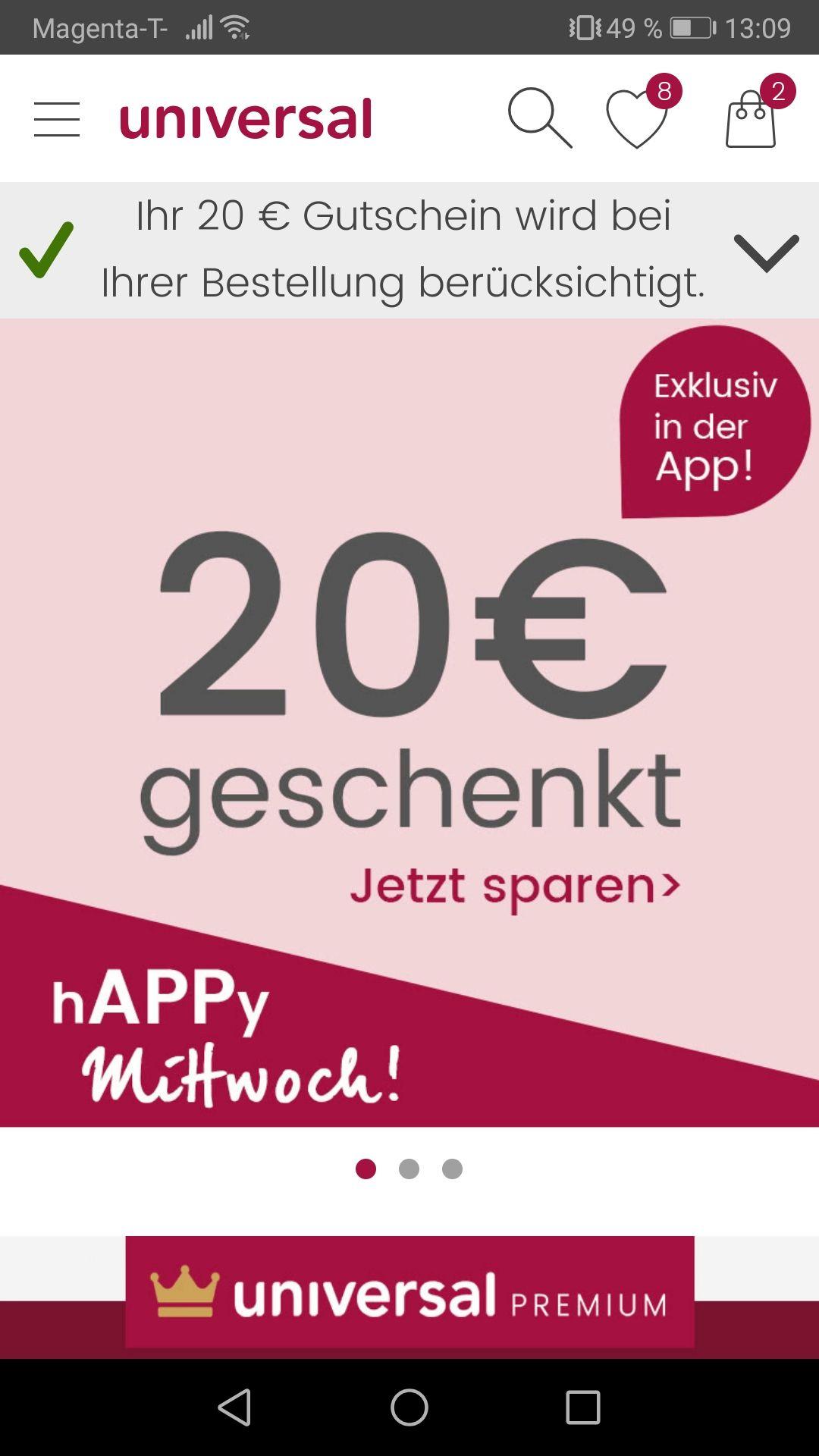 UNIVERSAL 20€ Gutschein nur in der App MBW100€