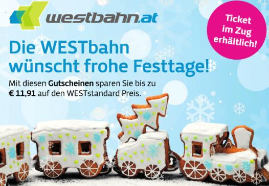 [Westbahn] Rabatt Gutscheine z.B. Wien <> Salzburg um nur 21,90€ statt 33,50