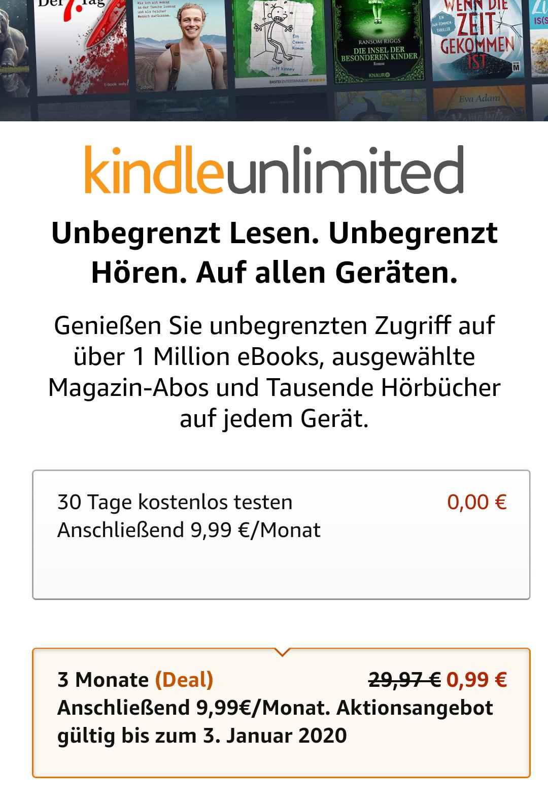 Kindle Unlimited - € 0,99 statt € 29,97/3 Monate