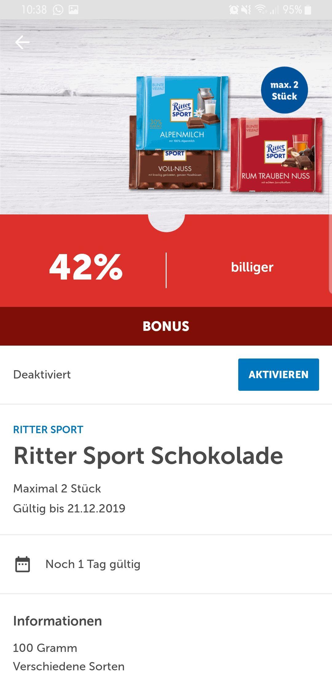 Lidl Plus -42% auf 2 Tafel Ritter Sport