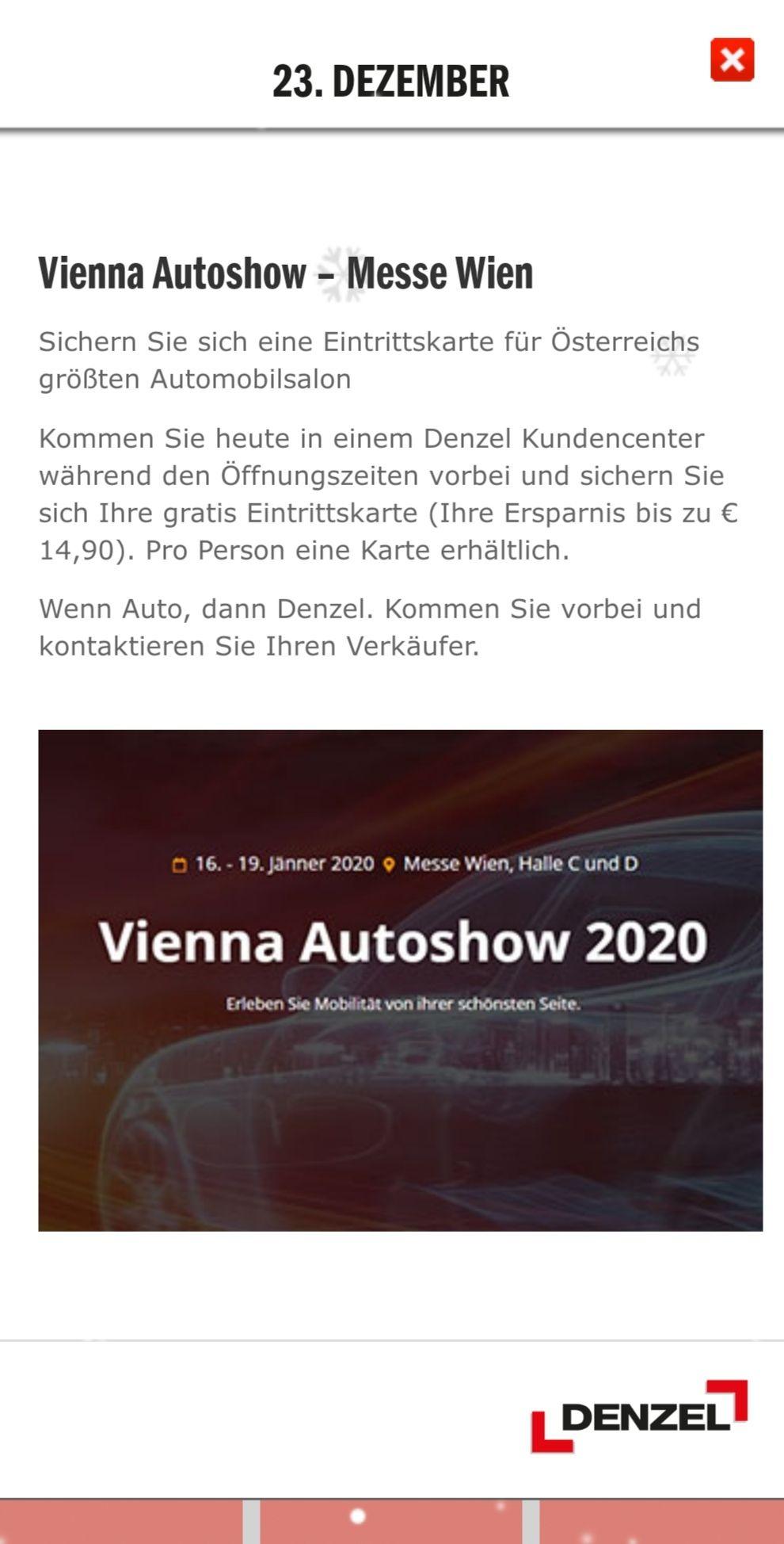 Gratis zur Vienna Autoshow 2020 am Mittwoch, 15.01.2020 (Preview Karte)