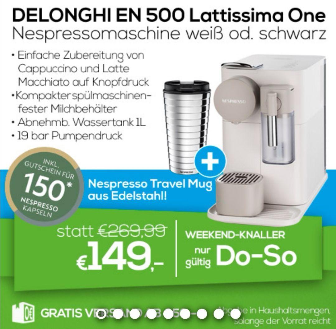 Nespresso Lattissima One zum Bestpreis inkl. Travel Mug und Kapselgutschein!