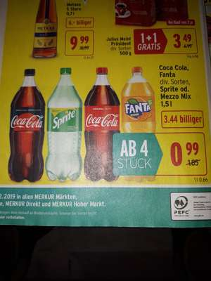( Merkur, Billa, Interspar ) Coca Cola, Fanta, Sprite, Mezzo Mix