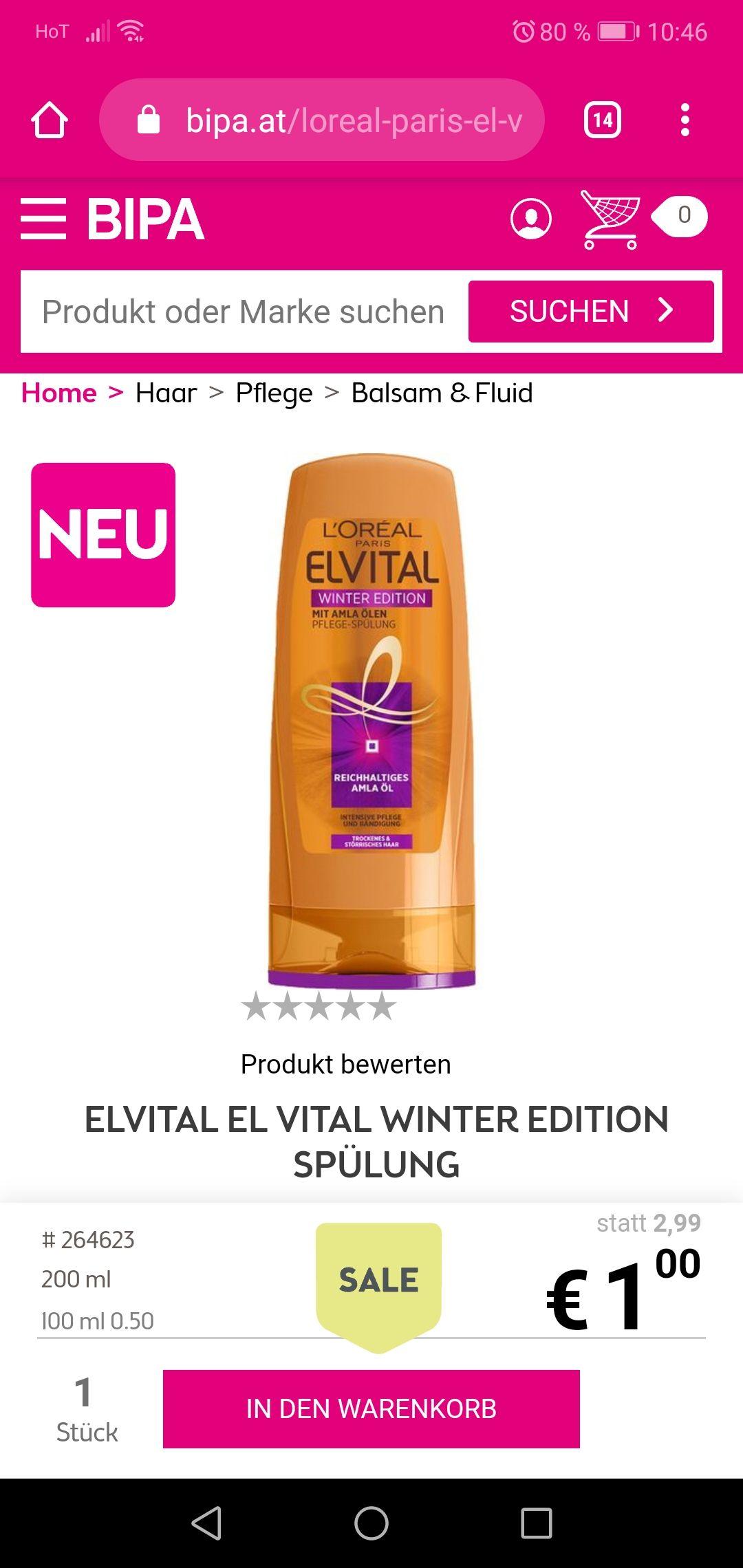 Bipa L'Oréal winteredition Spülung im Abverkauf