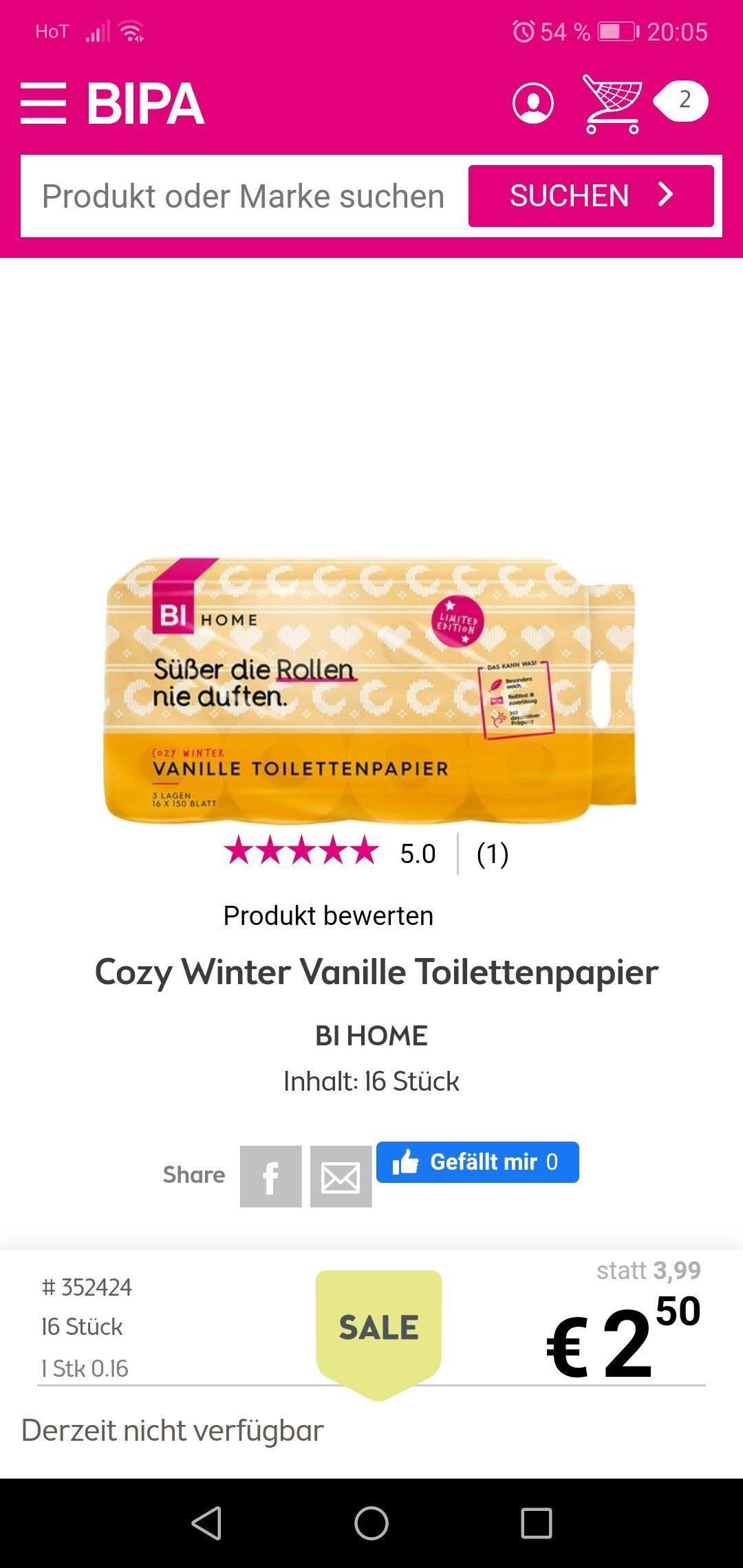 Bipa winter vanille toilettenpapier 16 Stück zum Bestpreis