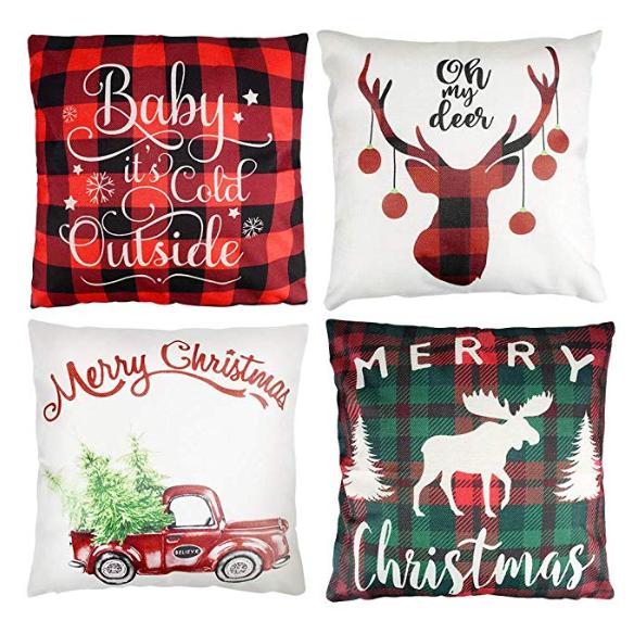 4Stk. weihnachtliche Kissenbezüge, 45x45cm