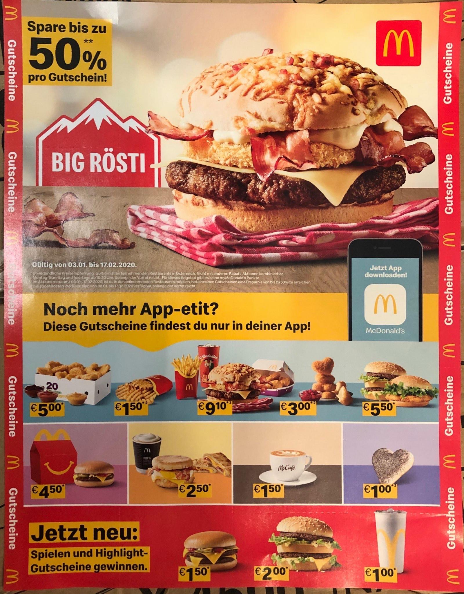 McDonald's Gutscheinheft (03.01-17.02.2020)