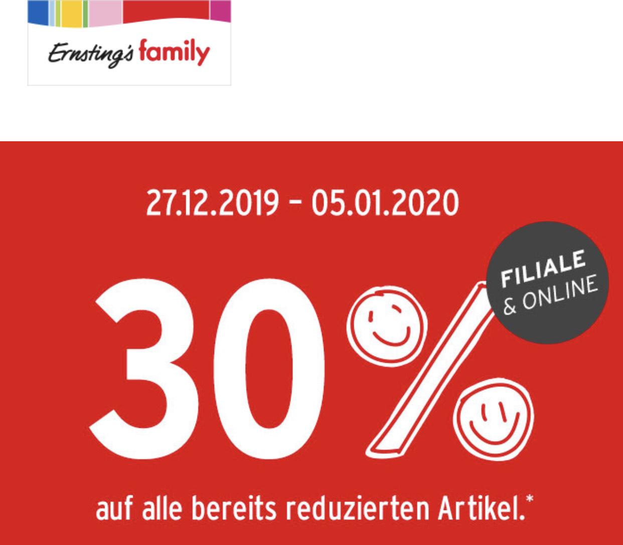 Ernstings Family: 30% auf alle reduzierten Artikel