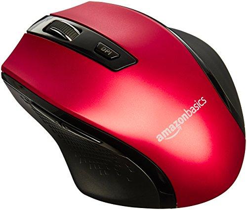AmazonBasics - Ergonomische kabellose Maus in rot oder violett