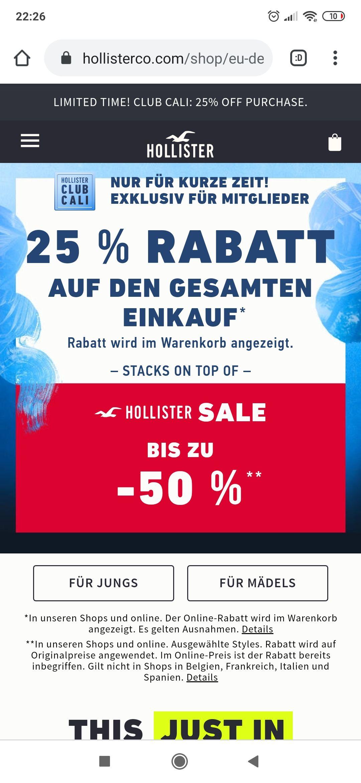 (schnell)Hollister Abverkauf -50% und zstzl -25%