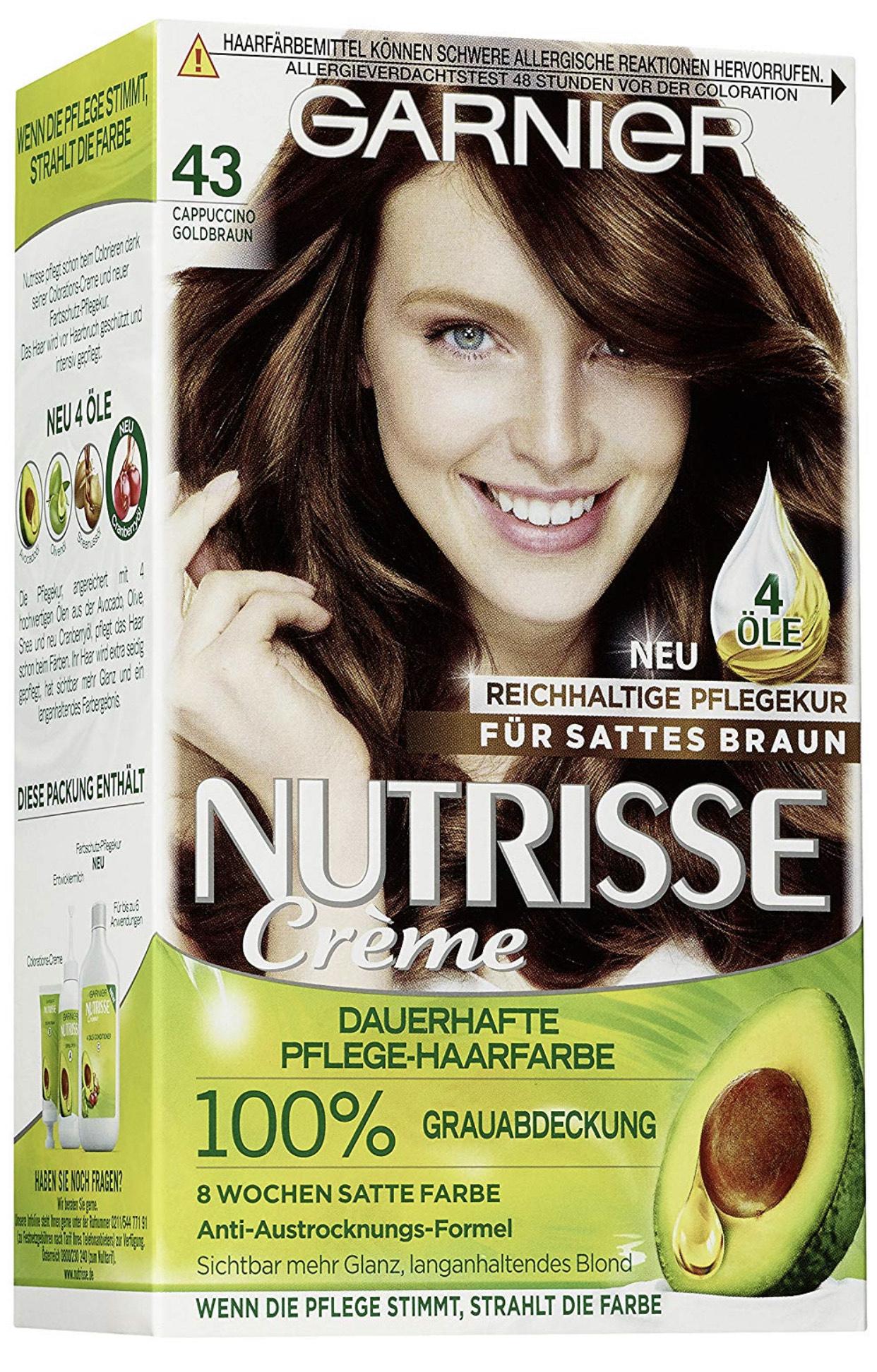 (Haare wie Peter) Garnier Nutrisse Creme Coloration Gold-Braun Färbung, 3er Pack