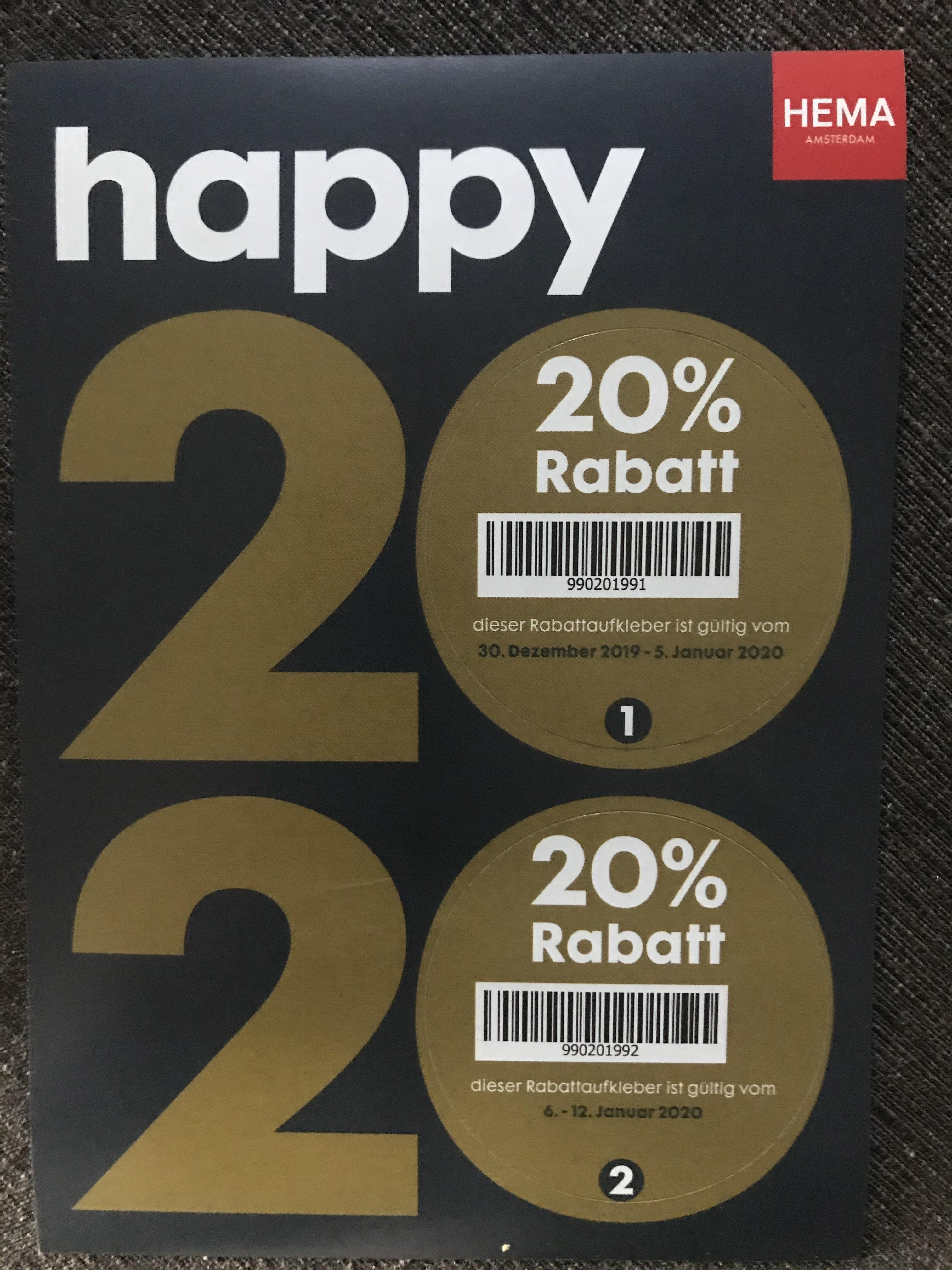 HEMA- Rabatt Code 20% Sticker