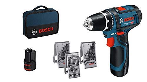 Bosch Professional Akkuschrauber GSR 12V-15 + 2x Akku + 39tlg. Zubehör-Set + Tasche