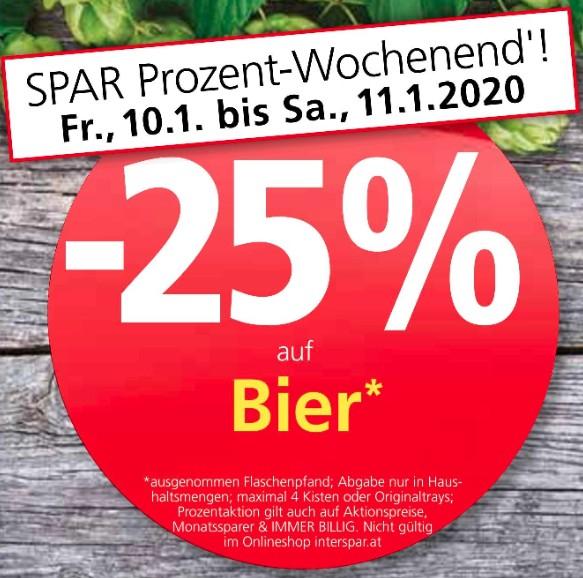 25% auf Bier bei Spar, Interspar, Eurospar