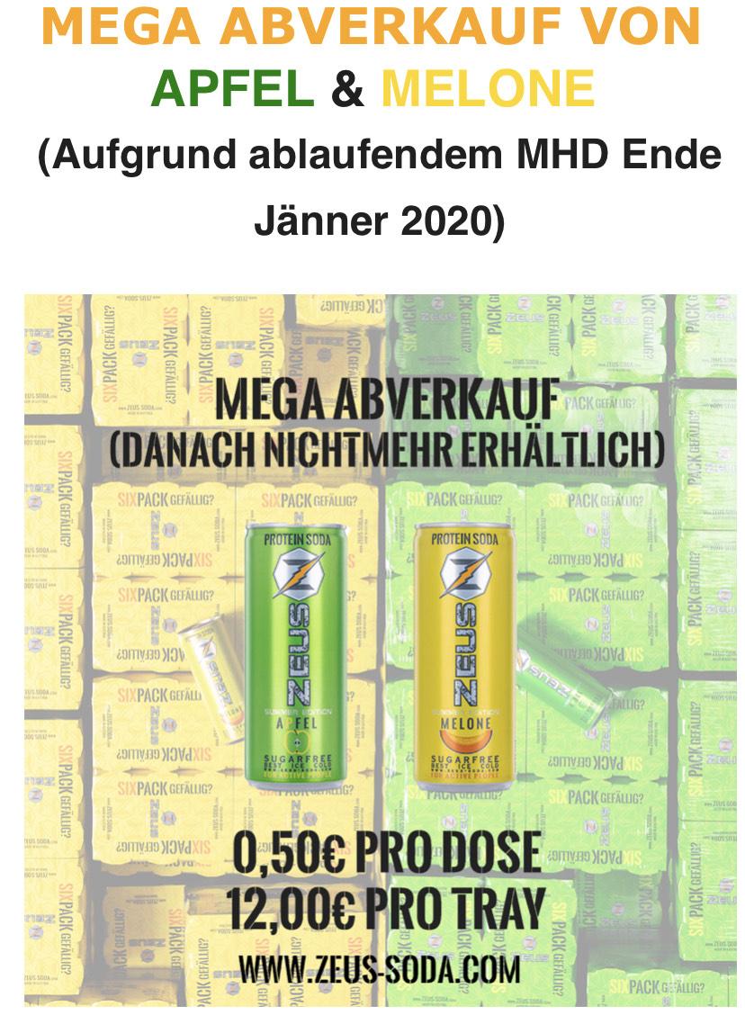 ZEUS PROTEIN SODA-MEGA ABVERKAUF VON APFEL 50Cent/Dose
