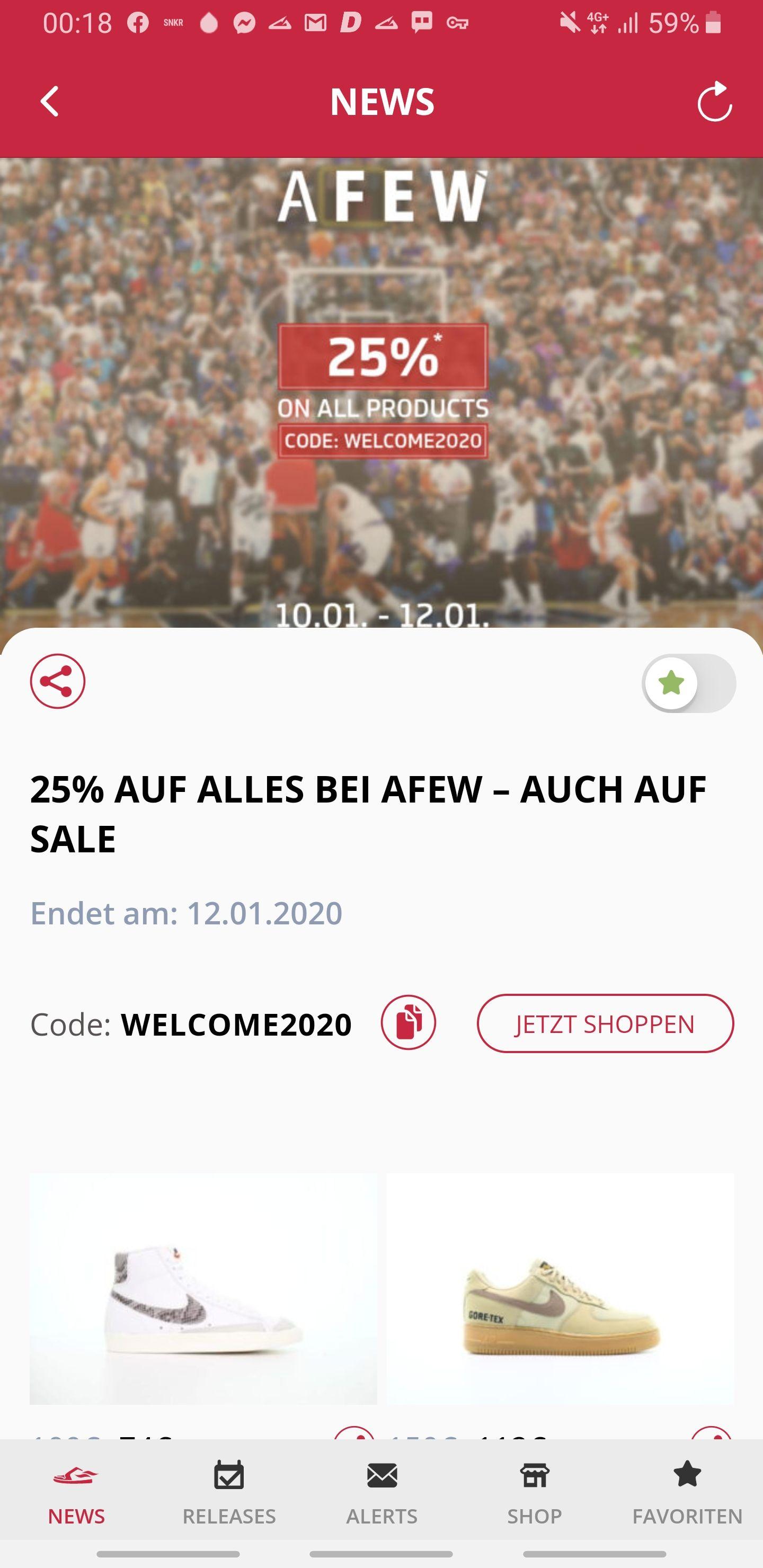 -25% auf alles bei AFEW - Auch auf SALE