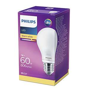 Philips LED-Lampe E27, warmweiß, 7W (60W)