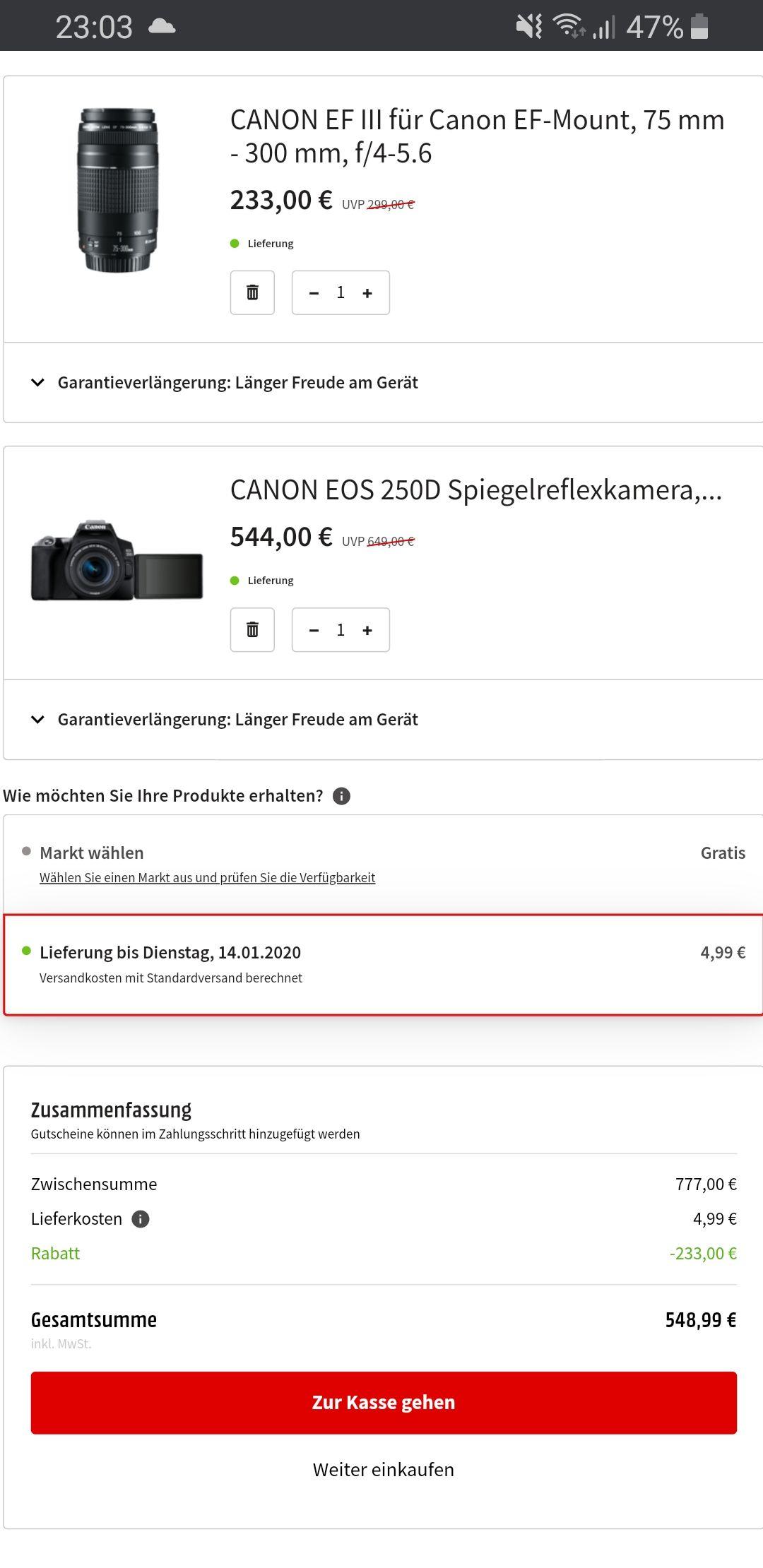 [Mediamarkt.DE] CANON EOS 250D + 18-55 mm f/4-5.6 IS STM + 75-300 mm f/4-5.6 III