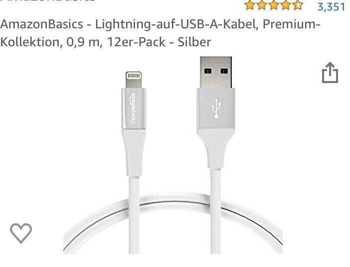 "12 Stk. AmazonBasics Lightning-Kabel ""Premium-Kollektion"" zum TOP-Preis!"