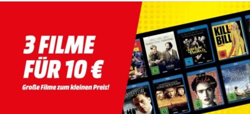 MediaMarkt / Saturn: 3 Filme (ausgewählte DVDs & Blu-rays) für 10€