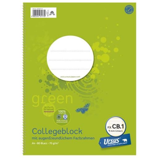 Ursus Collegeblock Green, A4, liniert, 80 Blatt - klimaneutrale Produktion