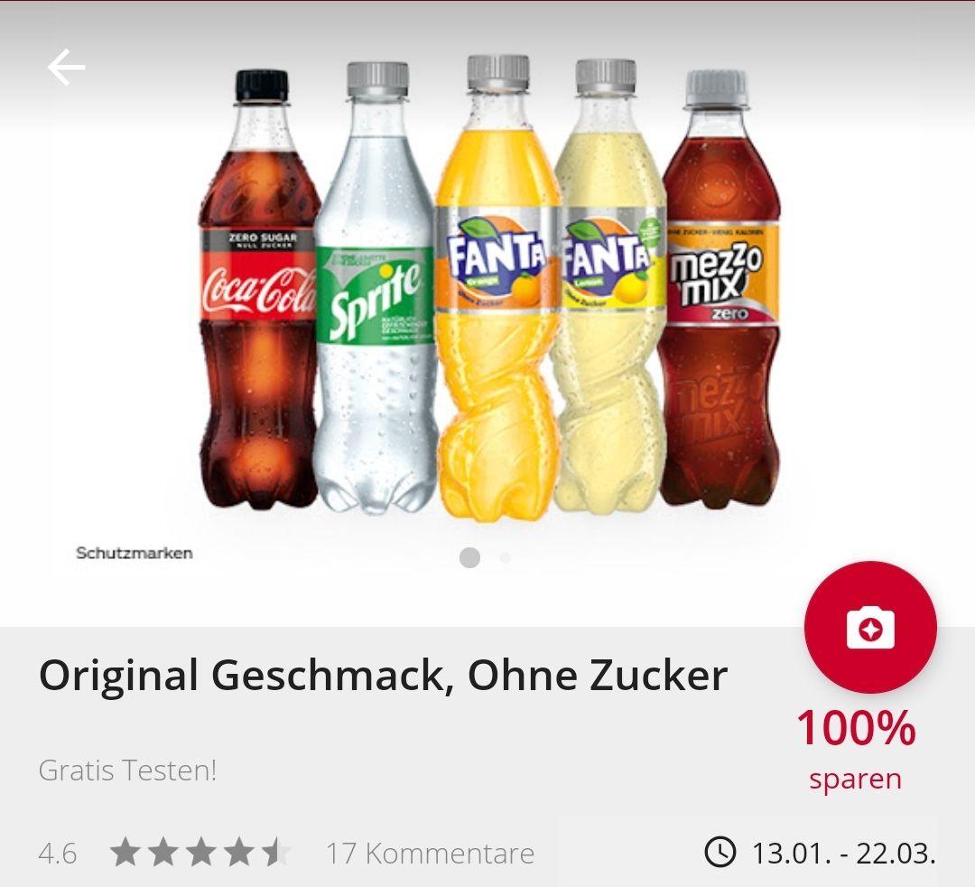 Gratis Coca Cola Zero Produkte mit Scondoo und Cashback