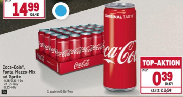 (METRO 0,47€, Penny 0,49€) Coca Cola (classic od. zero), Fanta 0,33l