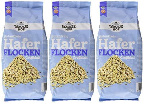 3x 475g Bauckhof Haferflocken Großblatt glutenfrei aus biologischem Anbau